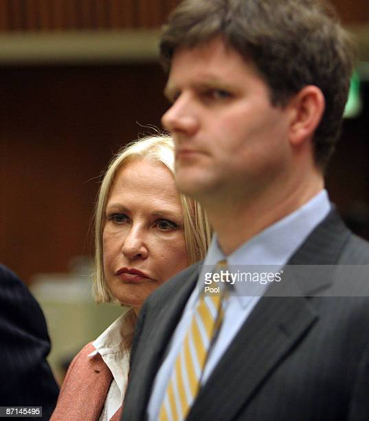 Dr Khristine Eroshevich standing next to her lawyer Adam H Braun looks on after Howard K Stern longtime confidant of Anna Nicole Smith and Dr Sandeep...