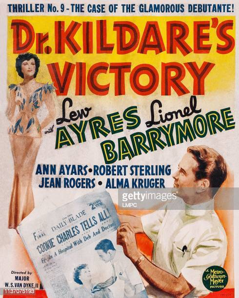 Dr Kildare's Victory poster bottom right Lew Ayres inset lr Ann Ayars Lew Ayers on window card 'No 9The Case of the Glamorous Debutante' 1942