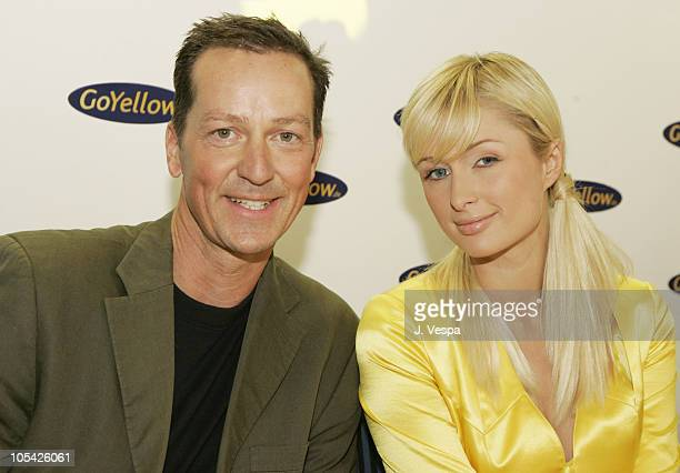Dr Klaus Harisch and Paris Hilton during GoYellow Press Conference and Photo Call with Paris Hilton at GoYellow Tower in Munich Germany