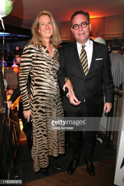 Dr. Klaus-Peter Roehler, CEO Allianz insurance and his wife Marie-Louise Roehler during Saskia Greipl's 50th birthday celebration at Feinkost Kaefer...