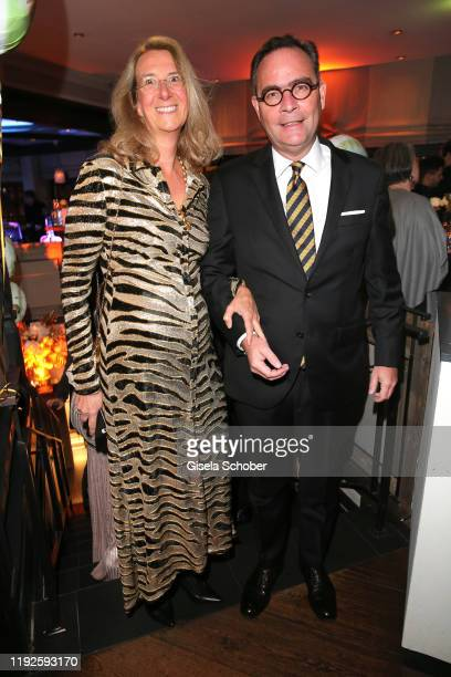 Dr KlausPeter Roehler CEO Allianz insurence and his wife MarieLouise Roehler during Saskia Greipl's 50th birthday celebration at Feinkost Kaefer on...