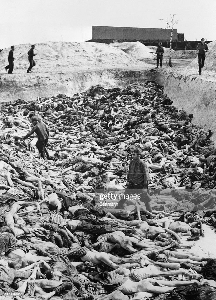 Massive Display of Nazi Victims at Concentration Camp : News Photo