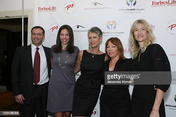 Dr Krieger Moira Forbes Jamie Lee Curtis Terri Apanasewicz and Laura Dern enjoy the day at the P3 and Forbeslife executive women's day of beauty for...