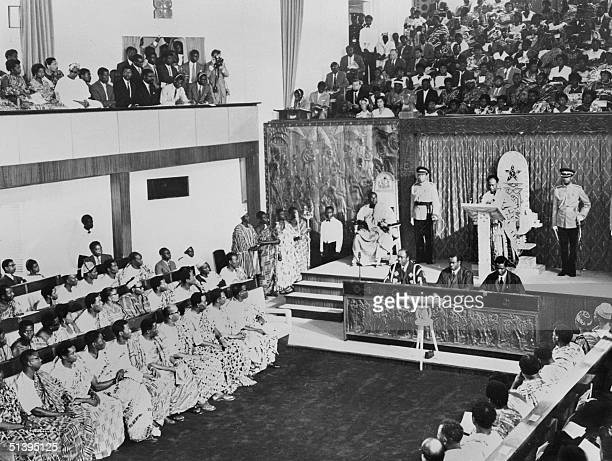 Dr Kwame Nkrumah newly installed first President of the Republic of Ghana speaks at length on world and domestic affairs at the Parliament in Accra...