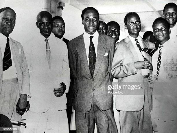 Dr, Kwame Nkrumah, , President of Ghana and politician, pictured in Freetown, Sierra Leone with Dr, Sir, Milton Margai,