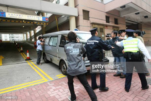 Dr Kwok Winghong who resuscitated and certified death for constable Leung Shingyan leaves Eastern Court Sai Wan Ho in a van Tsui Poko died last year...