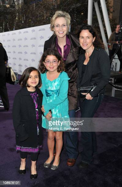 Dr Lara Embry actress Jane Lynch and children arrive at the premiere of Paramount Pictures' 'Justin Bieber Never Say Never' held at Nokia Theater LA...