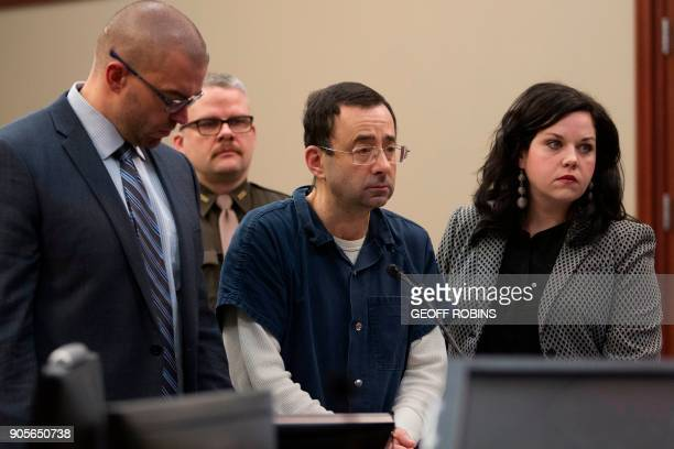Dr Larry Nassar appears in court during his sentencing hearing in Lansing Michigan January 16 2018 The former Team USA gymnastics doctor is convicted...