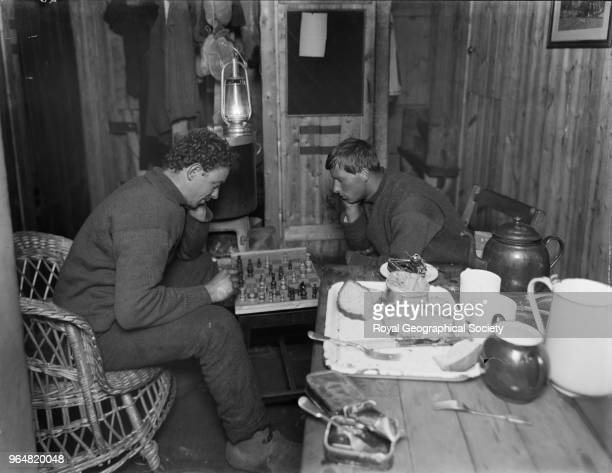 Dr Leonard Hussey and Frank Hurley playing chess on board the 'Endurance' Antarctica 1914 Imperial TransAntarctic Expedition 19141916