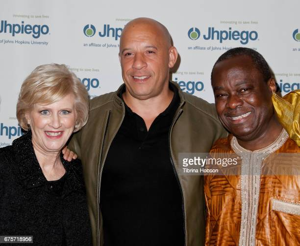 Dr Leslie Mancuso Vin Diesel and Dr Alain Damiba attend Jhpiego's 'Laughter Is The Best Medicine' Gala at the Beverly Wilshire Four Seasons Hotel on...