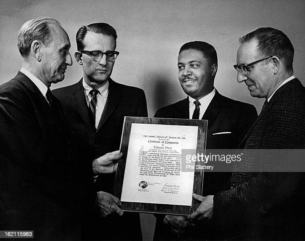 MAY 7 1964 Dr Lewis Webster Jones Left Presents Certificate Of Recognition Denver Post staff members are from his left Charles Roos George Brown John...