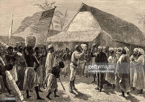 Dr Livingstone I presume' Henry Morton Stanley Welshborn American journalist and explorer meeting Dr David Livingstone Scottish missionary and...