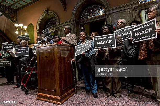 Dr. Lonnie Randolph, Jr., President of the South Carolina NAACP speaks at a rally in support of the Voting Rights Act in the Statehouse on February...