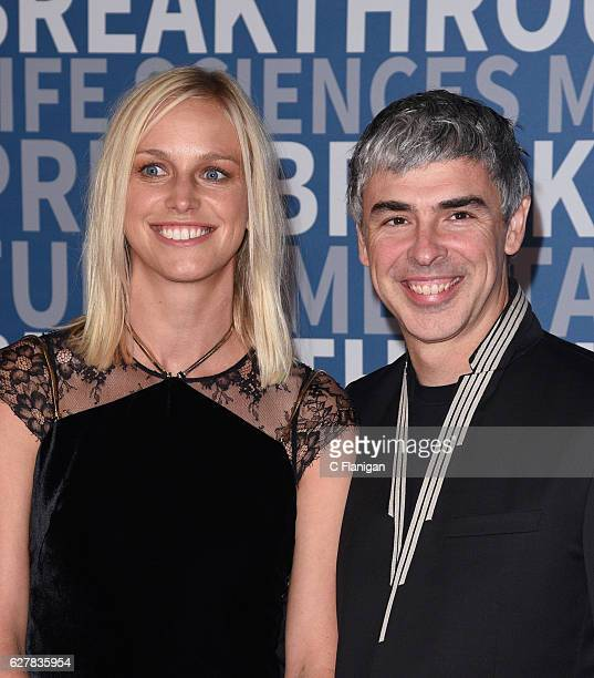 Dr Lucinda Southworth and CEO of Alphabet Larry Page attend the 2017 Breakthrough Prize at NASA Ames Research Center on December 4 2016 in Mountain...