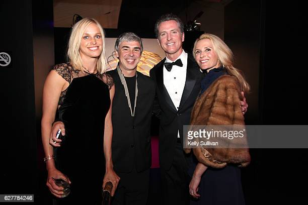 Dr Lucinda Southworth CEO of Alphabet Larry Page Lieutenant Governor Gavin Newsom and filmmaker Jennifer Siebel Newsom attend the 2017 Breakthrough...
