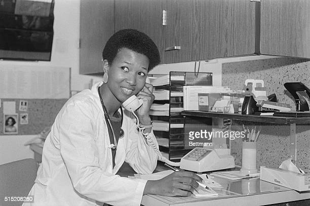 Dr Mae Jemison is among 15 new astronauts named by NASA and the first black female shuttle flyer she is shown at work in her office in Los Angeles