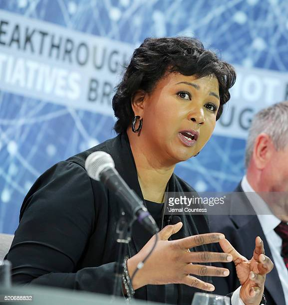 Dr Mae Jemison speaks during the New Space Exploration Initiative Breakthrough Starshot Announcement at One World Observatory on April 12 2016 in New...