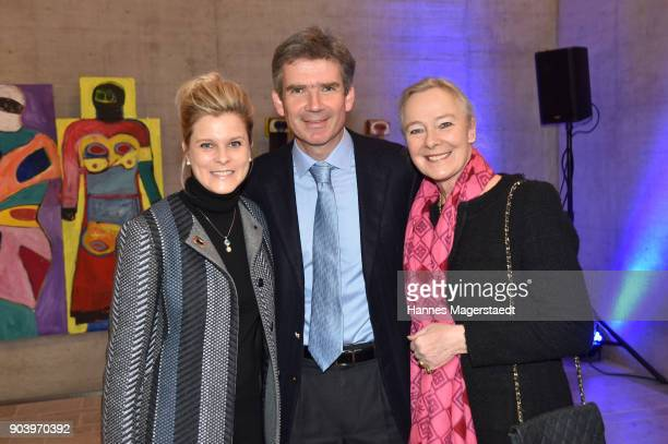 Dr Marcus Maier and his wife Dr Cathrin Maier and Prinzessin Uschi zu Hohenlohe during 'Der andere Laufsteg' exhibition opening in Munich at...