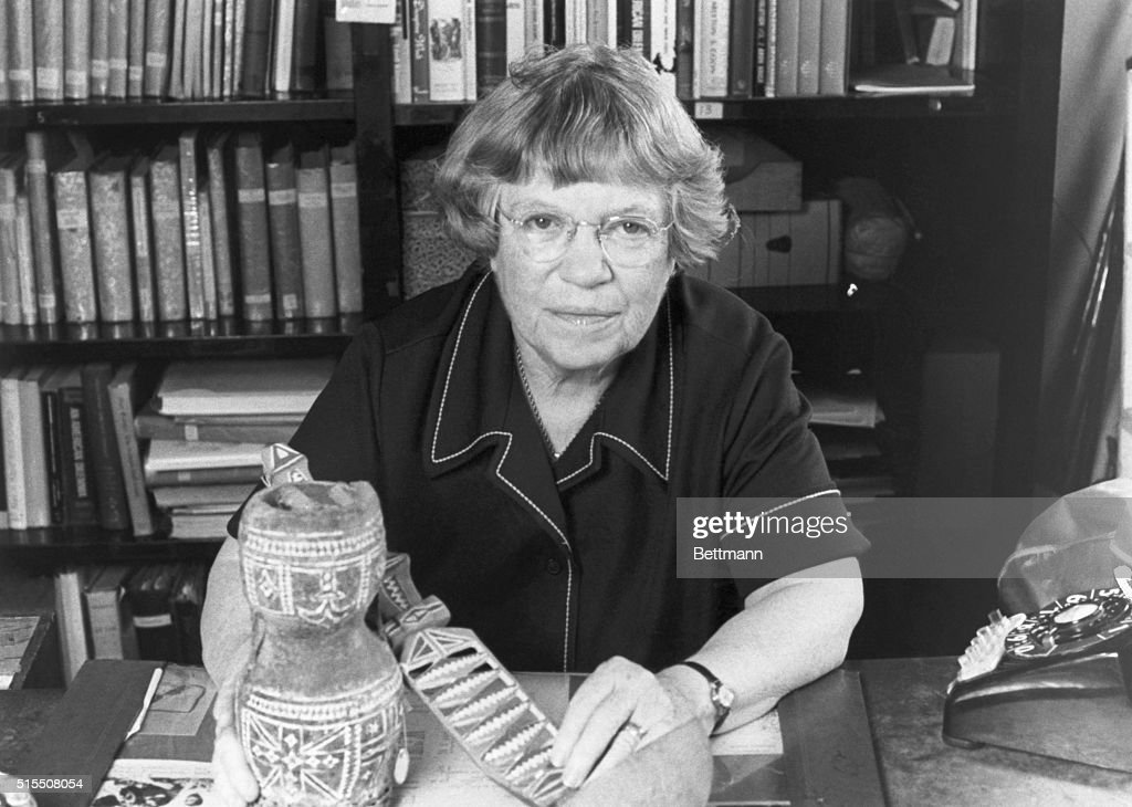 Dr. Margaret Mead Holding Artifacts : News Photo