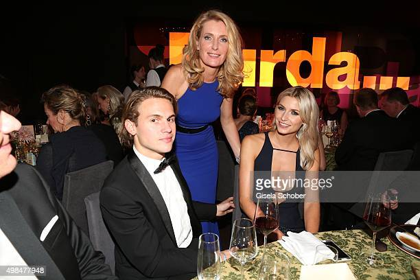 Dr Maria Furtwaengler Burda and her son Jacob Burda and Lena Gercke during the Bambi Awards 2015 after show party at Stage Theater on November 12...