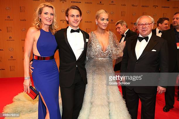 Dr Maria Furtwaengler Burda and her son Jacob Burda Rita Ora and Dr Hubert Burda during the Bambi Awards 2015 at Stage Theater on November 12 2015 in...