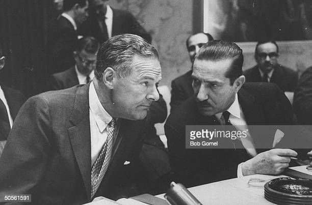 Dr Mario Amadeo and Henry Cabot Lodge Jr speaking with each other at United Nation meeting re Eichmann case involving Argentina and Israel