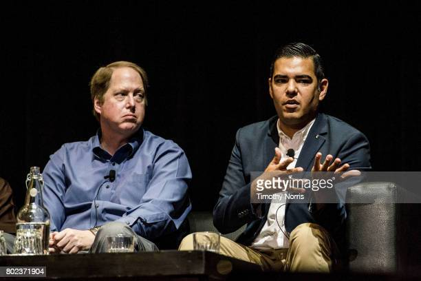 Dr Mark Gold D Env and Long Beach mayor Robert Garcia speak during Climate Day LA at The Theatre at Ace Hotel on June 27 2017 in Los Angeles...
