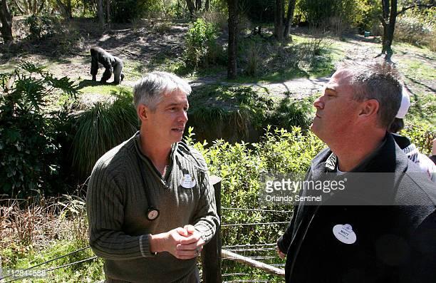 Dr Mark Stetter left director of animal health for Disney's Animal Programs talks with Matt Hohne animal operations director for Disney's Animal...