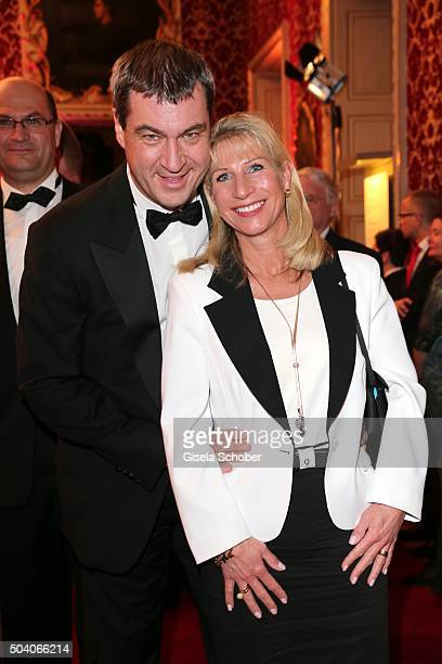 Dr Markus Soeder and his wife Karin Soeder during the new year reception of the Bavarian state government at Residenz on January 8 2016 in Munich...