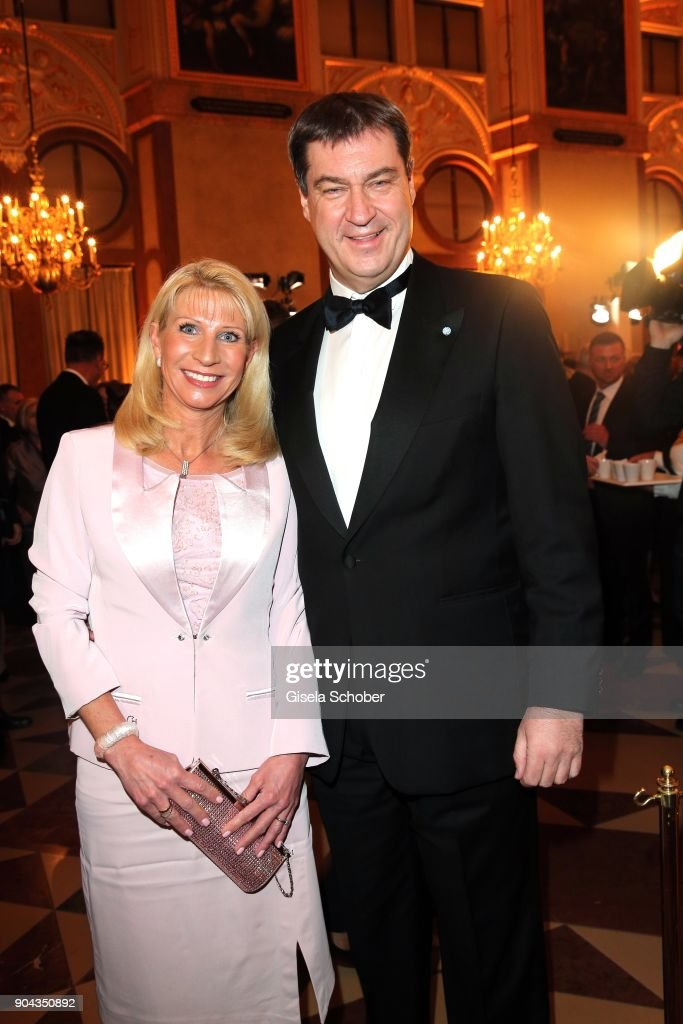 Dr. Markus Soeder and his wife Karin Soeder during the new year reception (Neujahrsempfang) of the Bavarian state government at Residenz on January 12, 2018 in Munich, Germany.