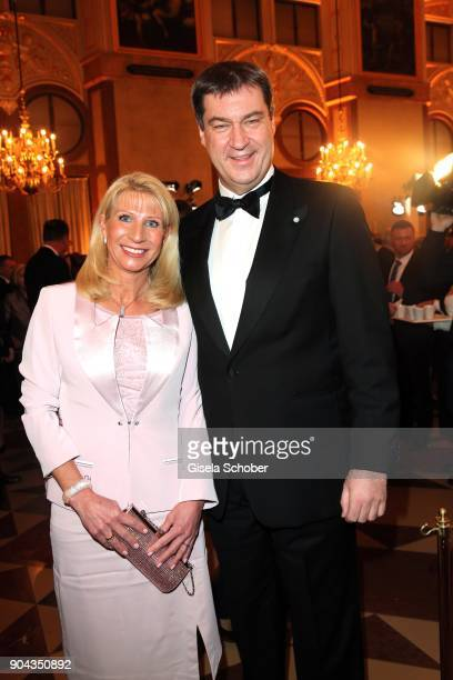 Dr Markus Soeder and his wife Karin Soeder during the new year reception of the Bavarian state government at Residenz on January 12 2018 in Munich...