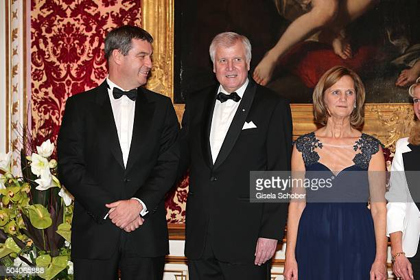 Dr Markus Soeder MinisterPresident Horst Seehofer and his wife Karin Seehofer during the new year reception of the Bavarian state government at...