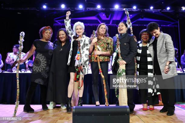 Dr. Marta Moreno Vega, dream hampton, Cyndi Lauper, Abigail Disney, Sarinya Srisakul, Rhonda Joy McLean, and NYWF President and CEO Ana L. Oliveira...