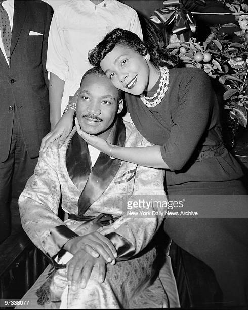 Dr Martin Luther King and his wife Coretta are smiling and cheerful during their interview yesterday in Harlem Hospital