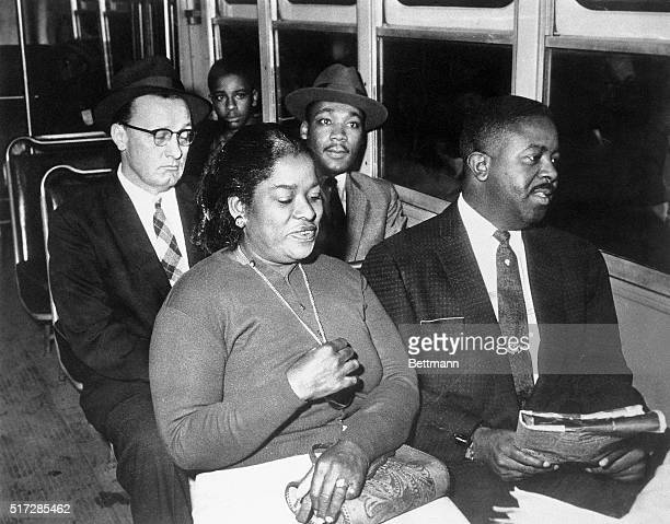 Dr Martin Luther King Jr and Reverend Ralph Abernathy are shown integrating one of the first buses in Montgomery Alabama in 1955 This scene is from...