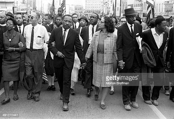 Dr. Martin Luther King, Jr. Arrives in Montgomery, Alabama on March 25th 1965 at the culmination of the Selma to Montgomery March. Pictured from...