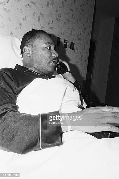 Dr Martin Luther King Jr receives a congratulatory telephone call after it was announced that he had been awarded the 1964 Nobel Peace Prize The...