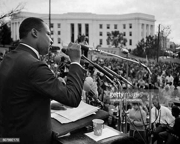 Dr. Martin Luther King, Jr. Speaks to 25,000 marchers at the conclusion of the Selma to Montgomery civil rights march on March 25, 1965 in...