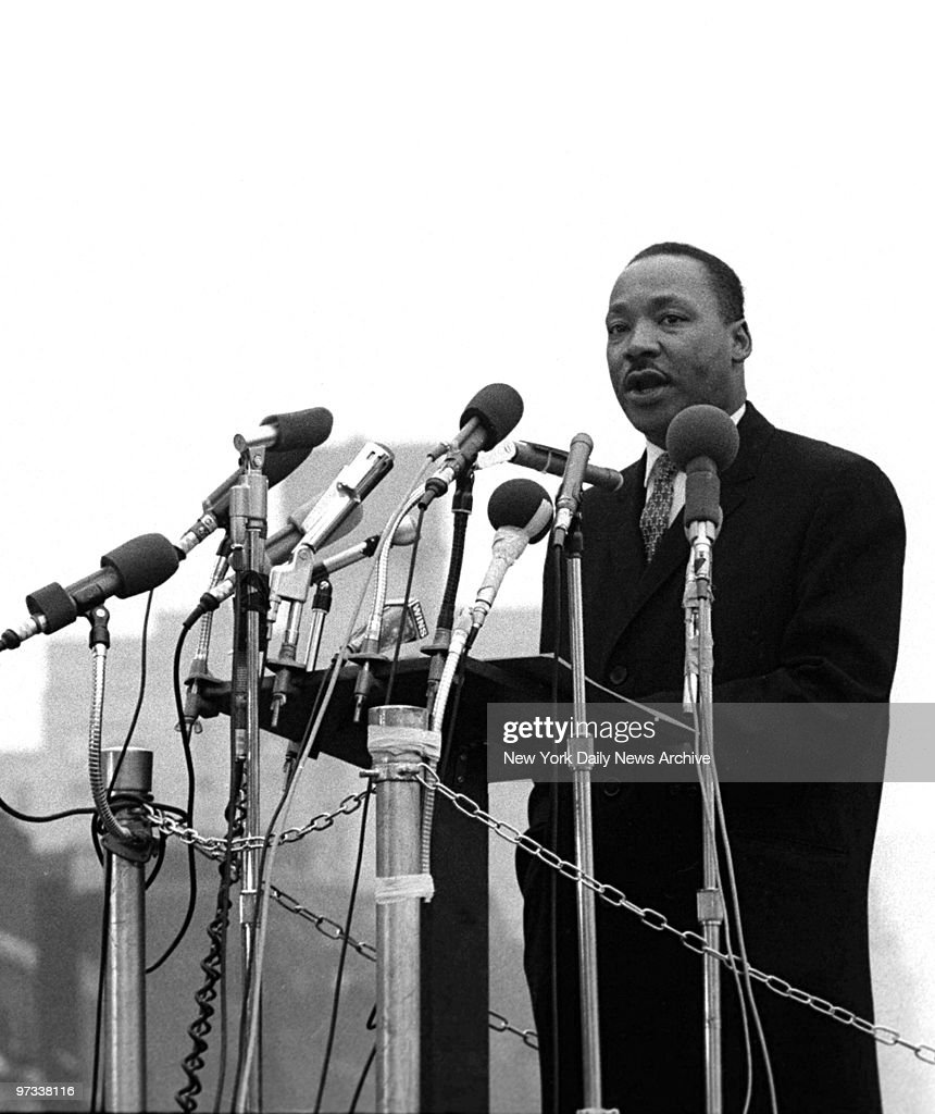 Dr. Martin Luther King Jr. speaks to peace marchers near the United Nations.