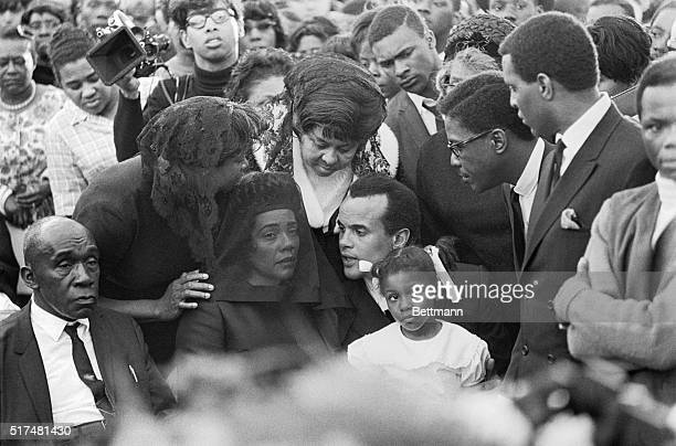 Dr Martin Luther King Jr's wife Coretta Scott King and family are seen here during the funeral ceremonies for the slain Civil Rights Activist Harry...