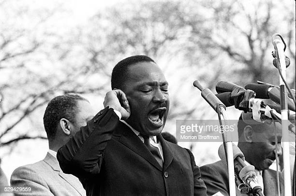 """Dr Martin Luther King Jt delivers his speech """"How Long Not Long"""" on the steps of the Alabama State Capitol in Montgomery Selma to Montgomery March..."""