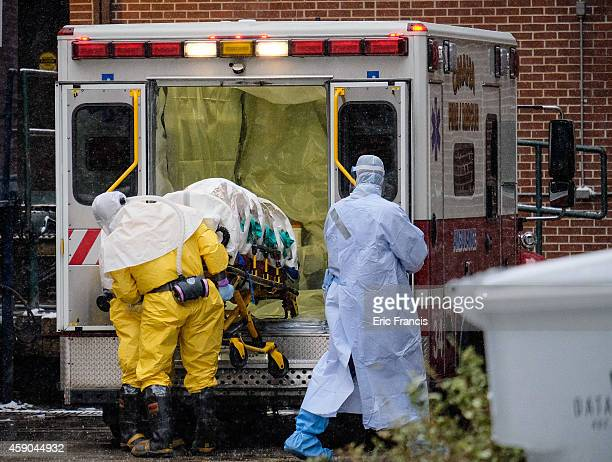Dr Martin Salia a surgeon infected with the Ebola virus while working in Sierra Leone arrives at the Nebraska Medical Center on November 15 2014 in...