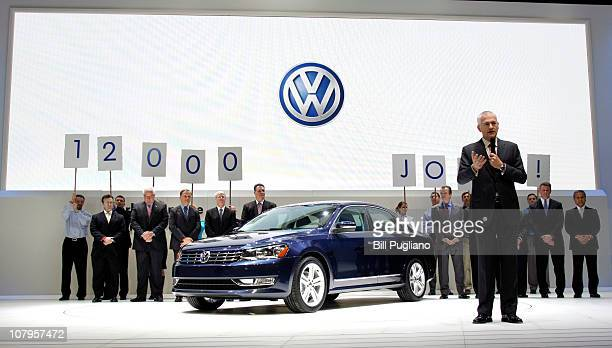 Dr Martin Winterkorn Chairman of Volkswagen Management Group introduces the new Volkswagen Passat at the 2011 North American International Auto Show...