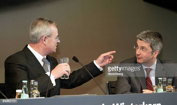 Dr Martin Winterkorn left chief executive of Audi AG gestures as he talks to Chief Financial Officer Rupert Stadler before the Annual Press...