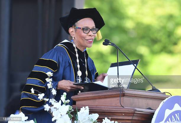 Dr. Mary Schmidt Campbell, president of Spelman College, speaks onstage during 2020 & 2021 Spelman College Commencement at Bobby Dodd Stadium on May...