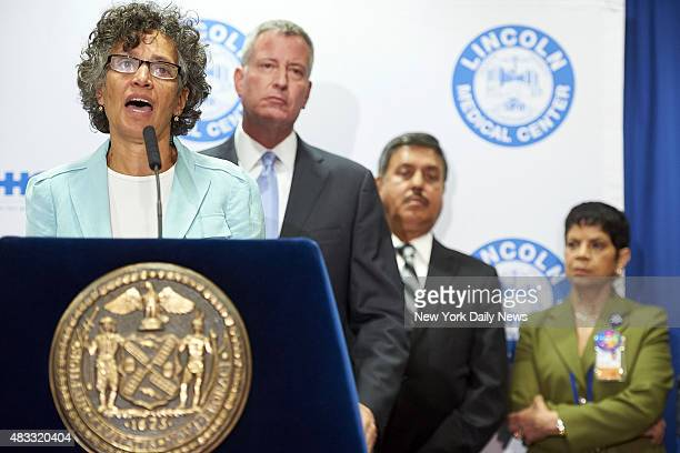 Dr. Mary Travis Bassett, left, commissioner of the New York City Department of Health and Mental Hygiene, speaks on the death toll from the Bronx's...
