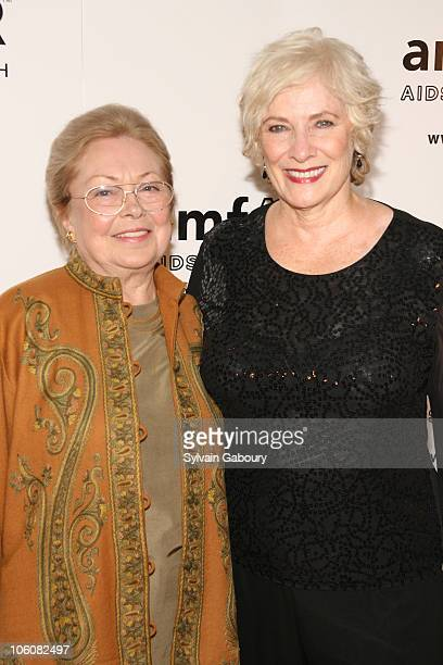 Dr Mathilde Krim and Betty Buckley during amfAR's Honoring With Pride Gala at The Rainbow Room in New York NY United States