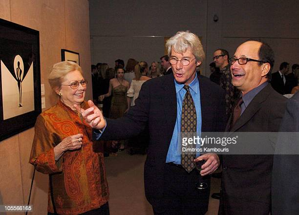 Dr Mathilde Krim Richard Gere and Ross Bleckner during amfAR and ACRIA Honor Herb Ritts at Sotheby's in New York City New York United States