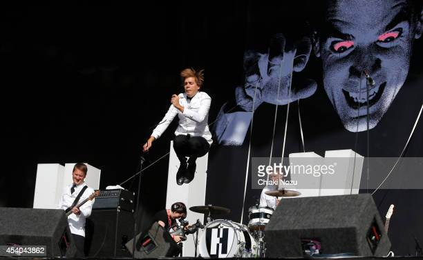 Dr Matt Destruction Howlin' Pelle Almqvist and Chris Dangerous of The Hives perform on Day 2 of the Reading Festival at Richfield Avenue on August 23...