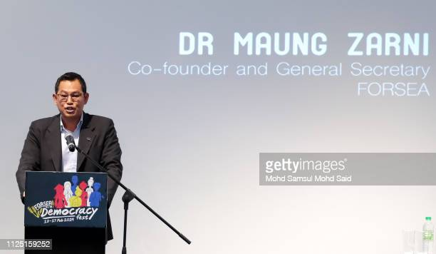 Dr Maung Zarni Cofounder and General Secretary FORSEA speaks during the celebrating democracy in Malaysia marked by Democracy Fest 2019 on February...